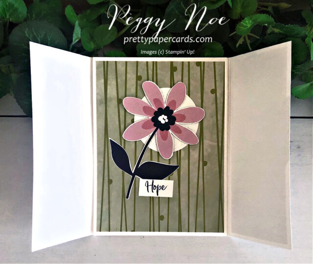 Handmade gatefold card created with Stampin' Up! Paper Blooms paper and A Touch of Ink Stamp Set, designed by Peggy Noe of prettypapercsrds.com #touchofink #paperblooms #peggynoe #gatefoldcard