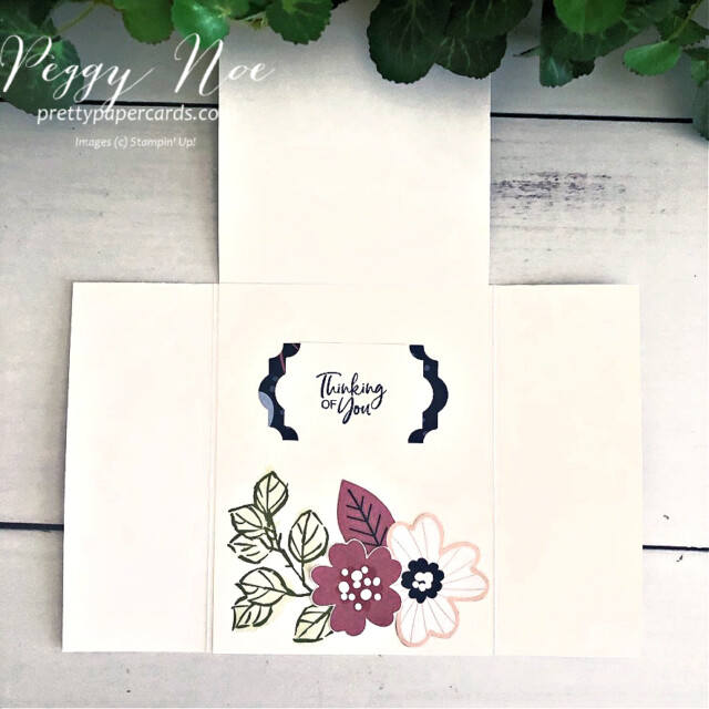 Handmade gatefold card created with Stampin' Up! Paper Blooms designer paper and A Touch of Ink Stamp Set, designed by Peggy Noe of prettypapercsrds.com #touchofink #paperblooms #peggynoe #gatefoldcard