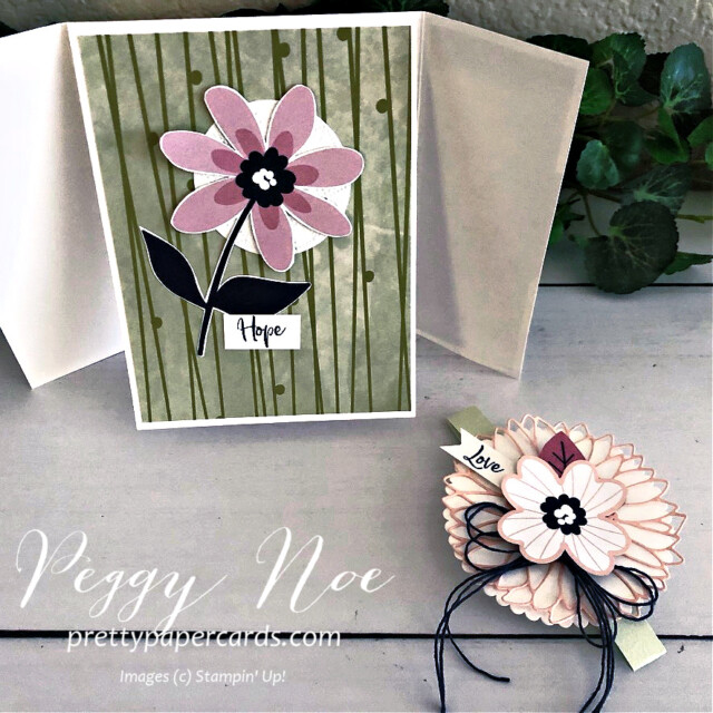 Handmade triple gatefold card created with Stampin' Up! Paper Blooms paper and A Touch of Ink Stamp Set, designed by Peggy Noe of prettypapercsrds.com #touchofink #paperblooms #peggynoe