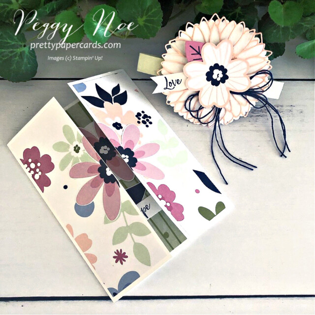 Handmade gatefold card created with Stampin' Up! Paper Blooms paper and A Touch of Ink Stamp Set, designed by Peggy Noe of prettypapercsrds.com #touchofink #paperblooms #peggynoe