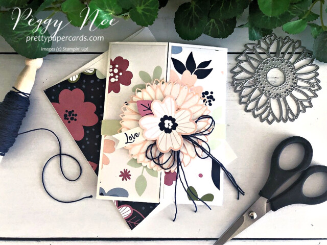 Handmade triple gatefold card created with Stampin' Up! Paper Blooms paper and A Touch of Ink Stamp Set, designed Peggy Noe of prettypapercsrds.com #touchofink #paperblooms #peggynoe