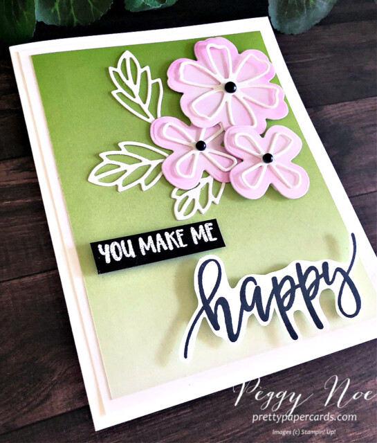 Handmade Happy Card made with the Pretty Perennials Bundle by Stampin' Up! designed by Peggy Noe of prettypapercards.com #prettyperennials #prettyperennialsbundle #peggynoe