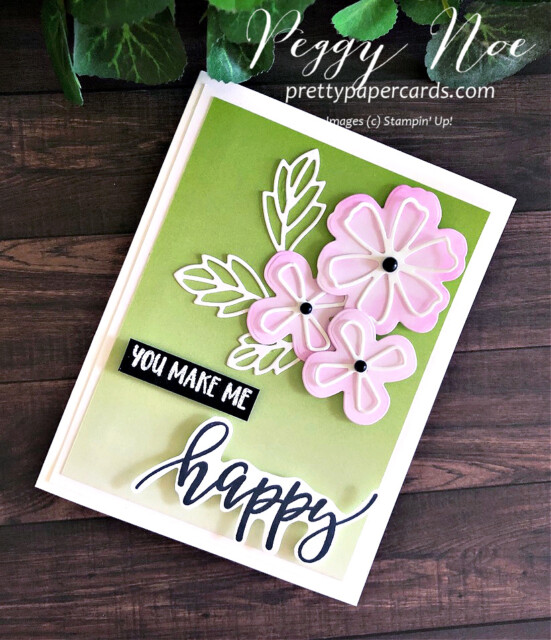 Handmade Pretty Perennials Happy Card created with the Pretty Perennial Bundle by Stampin' Up! and designed by Peggy Noe of Pretty Paper Cards #prettyperennailsbundle #prettyperennials #happycard