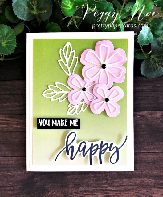 Handmade Pretty Perennials Happy Card created with the Pretty Perennial Bundle by Stampin' Up! and designed by Peggy Noe of Pretty Paper Cards #prettyperennailsbundle #prettyperennials #peggynoe