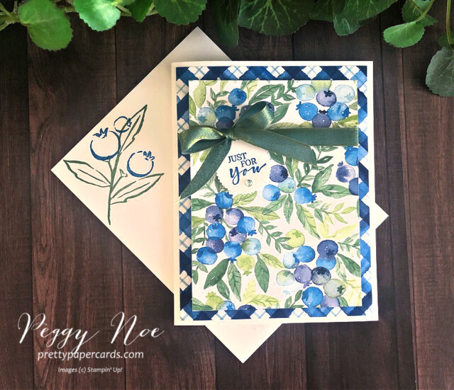 Handmade card made with Stampin' Up! Sweet Strawberry Stamp Set and Berry Delightful Paper designed by Peggy Noe of Pretty Paper Cards #blueberries #sweetstrawberry #berrydelightful #peggynoe