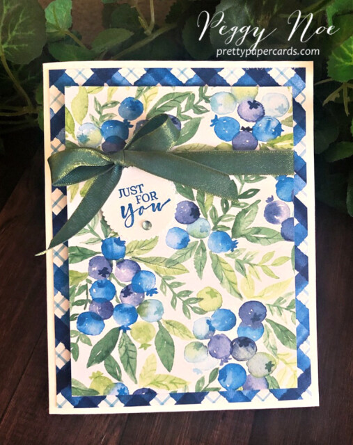 Handmade card made with Stampin' Up!  Sweet Strawberry Stamp Set and Berry Delightful Paper designed by Peggy Noe Pretty Paper Cards #blueberries #sweetstrawberry #berrydelightful #peggynoe