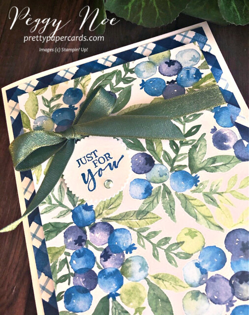 Handmade card made with Stampin' Up!  Sweet Strawberry Stamp Set and Berry Delightful Paper designed by Peggy Noe of Pretty Paper Cards #sweetstrawberry #berrydelightful #peggynoe