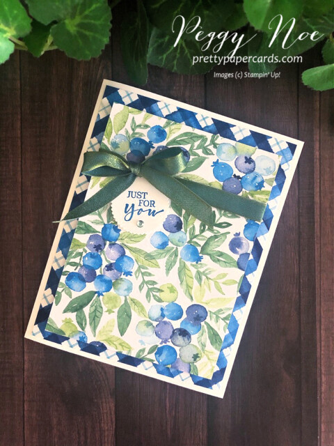 Handmade card created with Stampin' Up!  Sweet Strawberry Stamp Set and Berry Delightful Paper designed by Peggy Noe Pretty Paper Cards #blueberries #sweetstrawberry #berrydelightful #peggynoe
