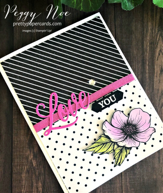 Love You Card using the Forever & Always Bundle and True Love Paper by Stampin' Up! GDP274 Peggy Noe of prettypapercards.com #truelove #forever&alwaysbundle #peggynoe
