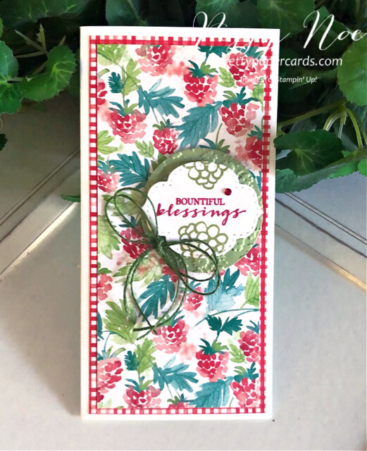 Handmade Blessings Card created using Berry Blessings Bundle  by Stampin' Up! designed by Peggy Noe of prettypapercards.com #berryblessings #minislimlinecard #minislimline #bountifulblessings #peggynoe
