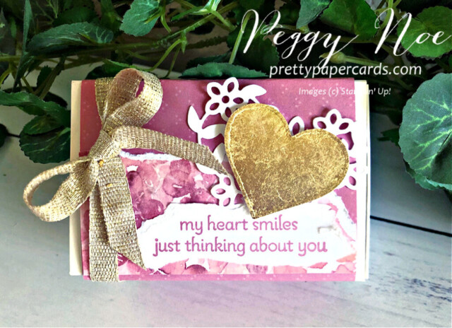 Gold Gilded Love You Always Treat Box made with Stampin' Up! Lots of Heart Bundle, designed by Peggy Noe of prettypapercards.com #lotsofheartbundle #gildedleafing #goldgilding #gildedheart #loveyoualwaystreatbox #hydrangeahilldsp #valentinetreat #valentinetreatbox #peggynoe #valentine