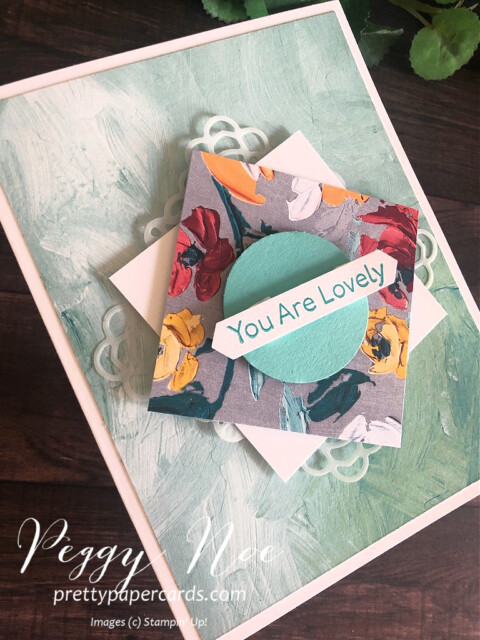 """Handmade """"You Are Lovely"""" card created with the Art Gallery Stamp Set by Stampin' Up! designed by Peggy Noe of prettypapercards.com #artgallery #fineartfloral #peggynoe #prettypapercards"""
