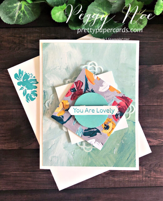"""Handmade """"You Are Lovely"""" card created with the Art Gallery Stamp Set by Stampin' Up! designed by Peggy Noe of prettypapercards.com #artgallery #fineartfloral #peggynoe"""