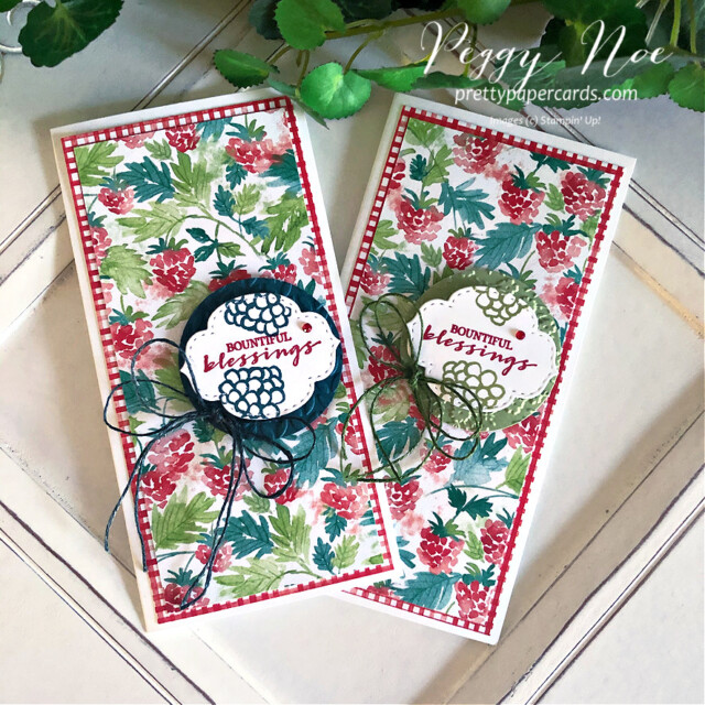 Handmade Blessings Card created using Berry Blessings Bundle  by Stampin' Up! designed by Peggy Noe of prettypapercards.com #berryblessings #minislimlinecard #minislimline #bountifulblessings #peggynoe #prettypapercards