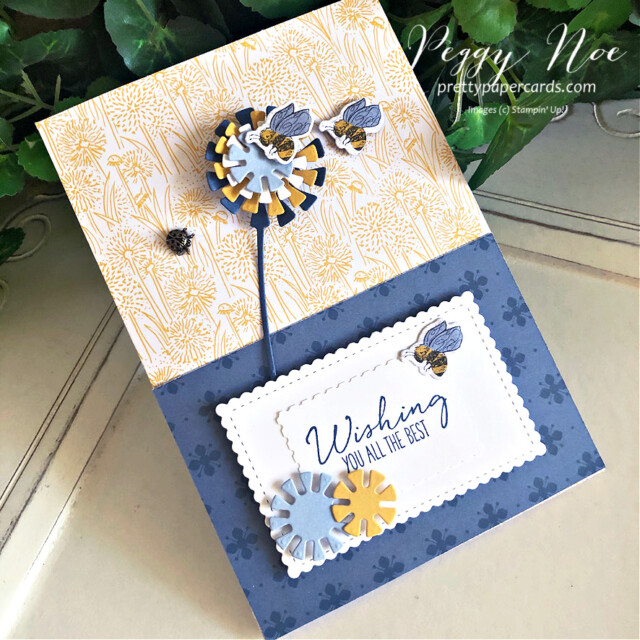 Handmade Dandelion Card using the Garden Wishes Bundle by Stampin' Up! designed by Peggy Noe of prettypapercards.com #gardenwishes #dandygarden #peggynoe #prettypapercards #dandelioncard