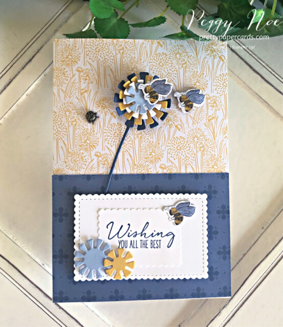 Handmade Dandelion Card using the Garden Wishes Bundle by Stampin' Up! designed by Peggy Noe of prettypapercards.com #gardenwishes #dandywishes #peggynoe #prettypapercards #dandelioncard