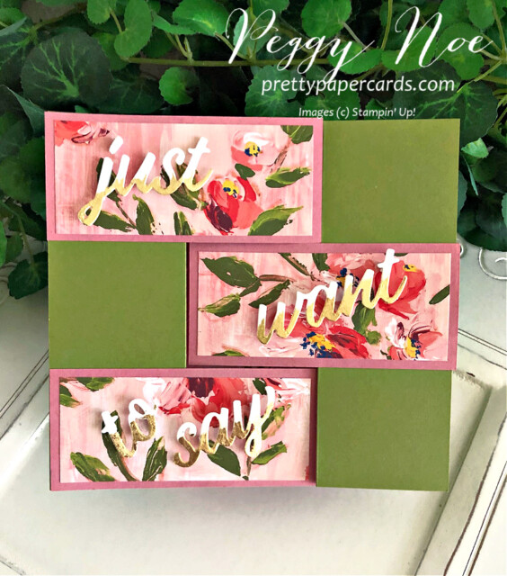 Handmade Fine Art Floral Stampin' Up! 3D Card by Peggy Noe of Pretty Paper Cards #fineartfloral #peggynoe #prettypapercards #3Dcard  #fancyfold