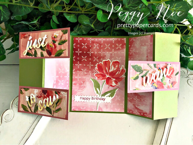 Handmade Fine Art Floral Stampin' Up! 3D Card by Peggy Noe of Pretty Paper Cards #artgallerybundle #peggynoe #prettypapercards #fancyfold