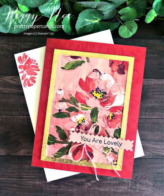 Handmade card created using the Fine Art Floral Suite by Stampin' Up! designed by Peggy Noe of prettypapercards.com #fineartfloral #peggynoe #prettypapercards #fineartfloralsuite