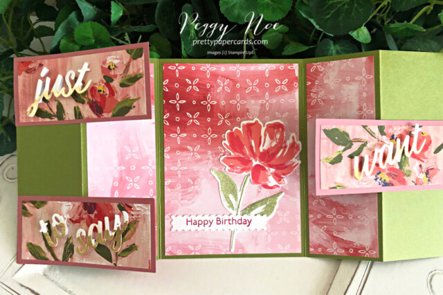 Handmade Fine Art Floral Stampin' Up! 3D Card by Peggy Noe of Pretty Paper Cards #fineartfloral #peggynoe #prettypapercards #fancyfold