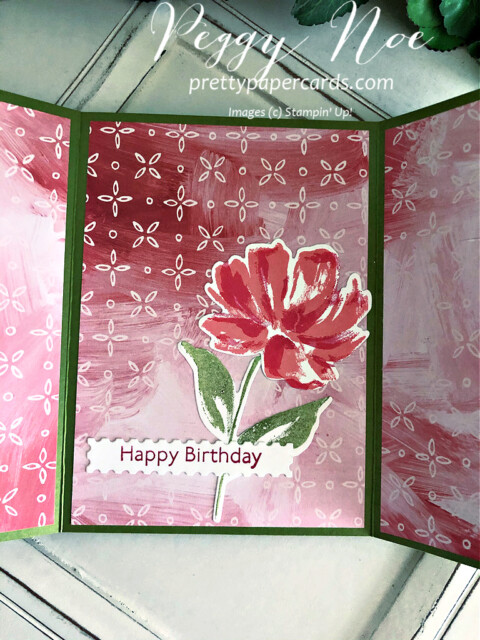 Handmade Fine Art Floral Stampin' Up! 3D Card by Peggy Noe of Pretty Paper Cards #artgallerybundle #peggynoe #prettypapercards #fancyfold #3Dcard