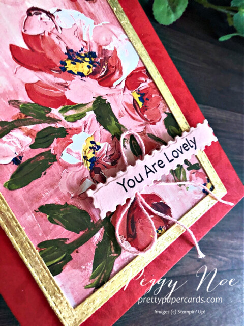 Handmade card created with the Fine Art Floral Suite by Stampin' Up! designed by Peggy Noe of prettypapercards.com #fineartfloral #peggynoe #prettypapercards
