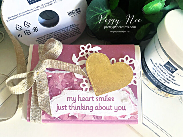 Gold Gilded Love You Always Treat Box made with Stampin' Up! Lots of Heart Bundle, designed by Peggy Noe of prettypapercards.com #lotsofheartbundle #gildedleafing #goldgilding #gildedheart #loveyoualwaystreatbox #hydrangeahilldsp #valentine #valentinetreat #valentinetreatbox #peggynoe