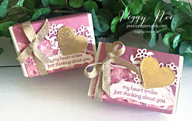 Gold Gilded Love You Always Treat Box made with Stampin' Up! Lots of Heart Bundle, designed by Peggy Noe of prettypapercards.com #lotsofheartbundle #gildedleafing #goldgilding #gildedheart #loveyoualwaystreatbox #hydrangeahilldsp #valentinetreat #valentinetreatbox #peggynoe