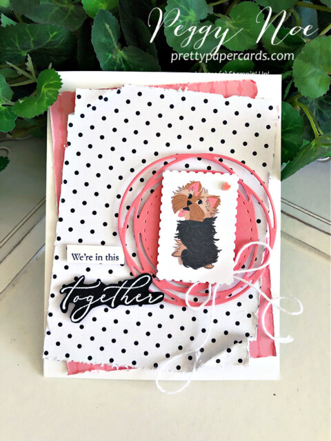 Handmade card using the Heal Your Heart stamp set and the Playful Pets paper from Stampin' Up! created by Peggy Noe of Pretty Paper Cards #playfulpets #healyourheart #yorkshireterrier #peggynoe #prettypapercards.com