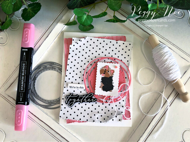 Handmade card using the Heal Your Heart stamp set and the Playful Pets paper from Stampin' Up! created by Peggy Noe of Pretty Paper Cards #playfulpets #healyourheart #yorkshireterrier #peggynoe #prettypapercards