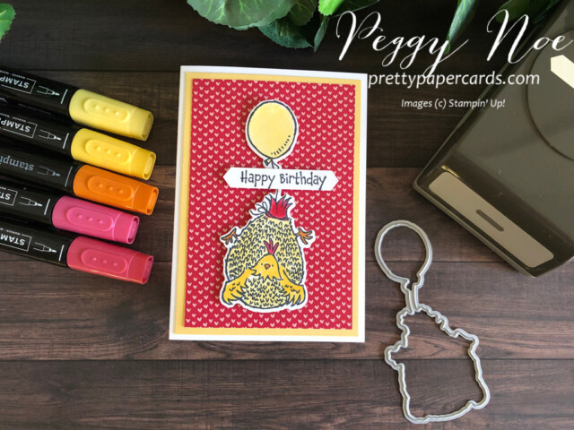 Handmade birthday notecard created with the Hey Birthday Chick Bundle by Stampin' Up! designed by Peggy Noe of Pretty Paper Cards #heybirthdaychick #peggynoe #prettypapercards #birthday
