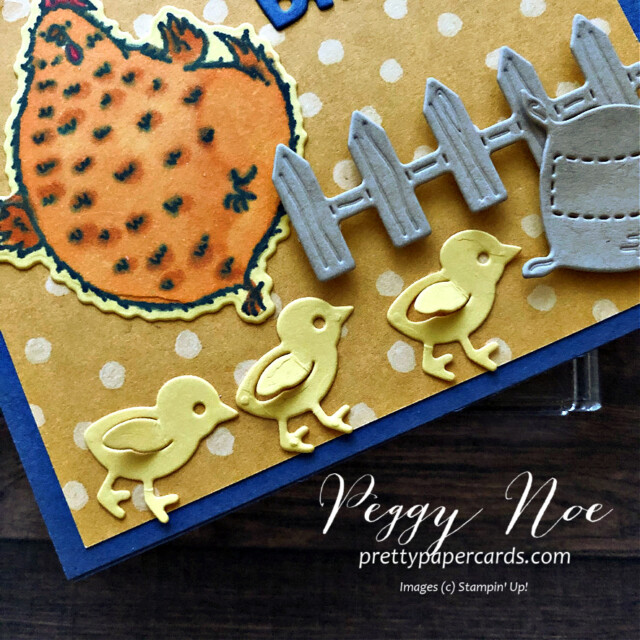 Handmade card made with the Hey Chick Bundle by Stampin' Up! created by Peggy Noe of Pretty Paper Cards #heychick #happybirthdaycard #peggynoe #chicks