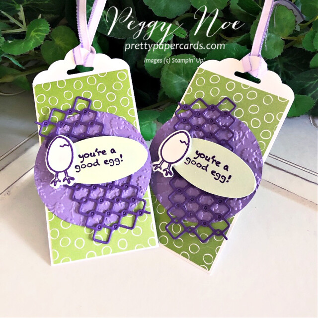 Handmade gift tag made with the Hey Chick Bundle by Stampin' Up! and created by Peggy Noe of prettypapercards.com #heychick #gifttag #peggynoe #stampinup #prettypapercards.com