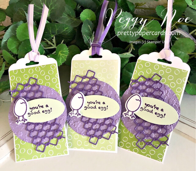Handmade gift tag made with the Hey Chick Bundle by Stampin' Up! created by Peggy Noe prettypapercards.com #heychick #gifttag #peggynoe #stampinup