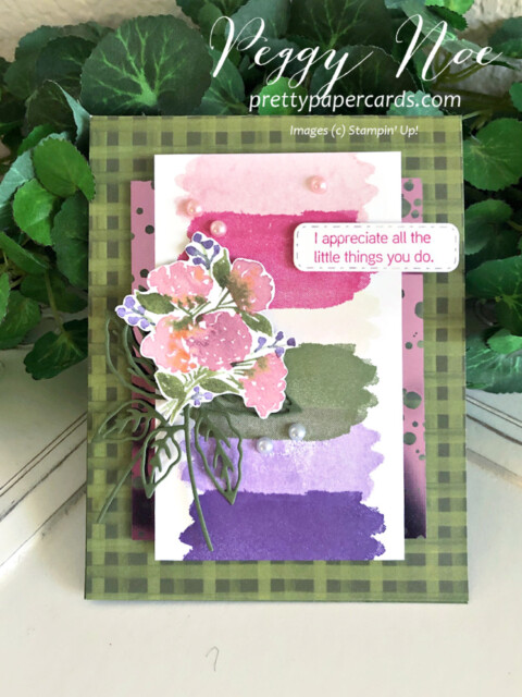 Handmade Hydrangea Haven Thank You Card using Stampin' Up! products Peggy Noe of prettypapercards.com #hydrangeahaven #hydrangeahill #peggynoe #stampinup #prettypapercards