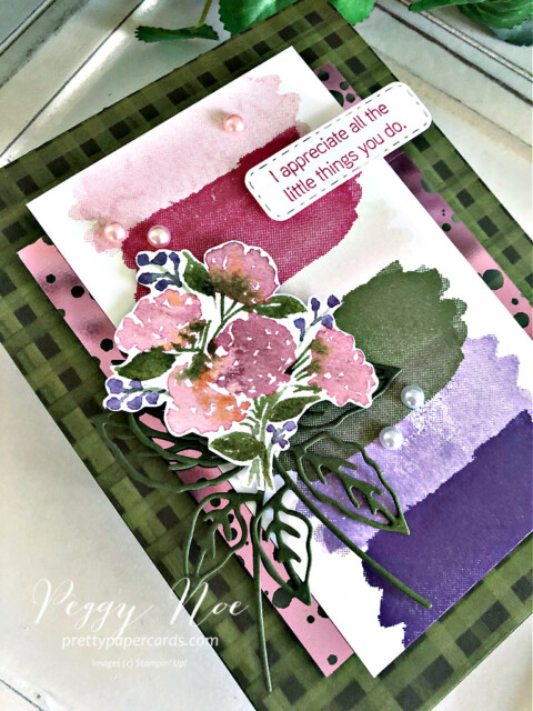 Handmade Hydrangea Haven Thank You Card using Stampin' Up! products Peggy Noe of prettypapercards.com #prettypapercards #hydrangeahaven #hydrangeahavenbundle #hydrangeahill #peggynoe #stampinup