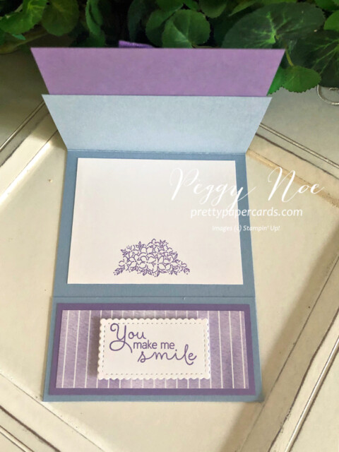 Handmade card using the Hydrangea Hill Bundle by Stampin' Up! by Peggy Noe of Prettypapercards.com #hydrangeahill #hydrangeahaven #foldovercard #fancyfoldcard #peggynoe #prettypapercards