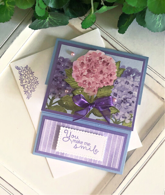 Handmade card using the Hydrangea Hill Bundle by Stampin' Up! by Peggy Noe of Prettypapercards.com #hydrangeahill #hydrangeahaven #foldovercard #fancyfoldcard #peggynoe
