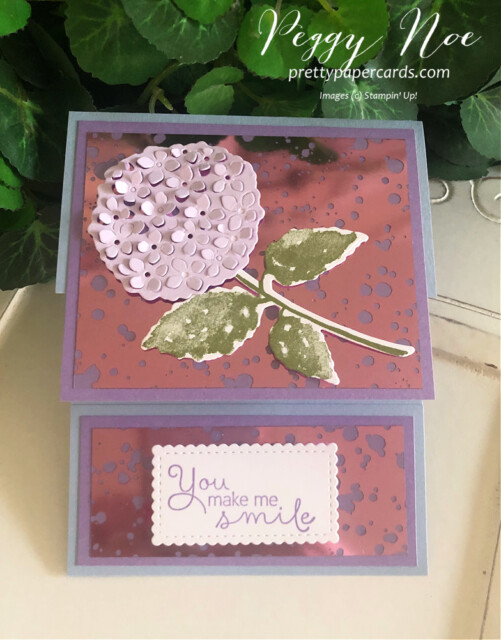 Handmade card using the Hydrangea Hill Bundle by Stampin' Up! by Peggy Noe of Prettypapercards.com #hydrangeahill #hydrangeahaven #foldovercard #fancyfoldcard #peggynoe #hydrangeaacetate