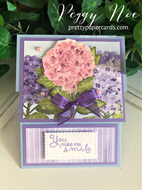 Handmade card using the Hydrangea Hill Bundle by Stampin' Up! by Peggy Noe of Pretty Paper Cards #hydrangeahill #hydrangeahaven #foldovercard #fancyfoldcard #peggynoe #prettypapercards