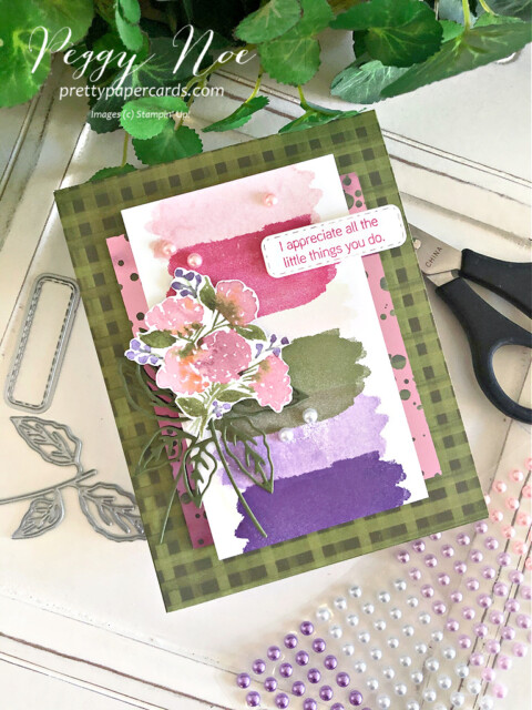 Handmade Hydrangea Haven Thank You Card using Stampin' Up! products Peggy Noe of prettypapercards.com #hydrangeahaven #hydrangeahavenbundle #hydrangeahill #peggynoe #stampinup #prettypapercards