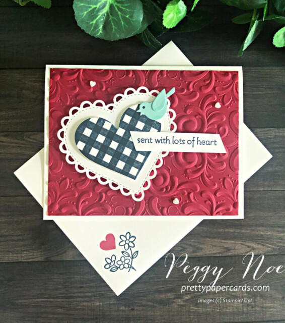 Handmade Card using the Lots of Heart Bundle by Stampin' Up! designed by Peggy Noe of Pretty Paper Cards #lotsofheart #peggynoe #prettypapercards #valentine