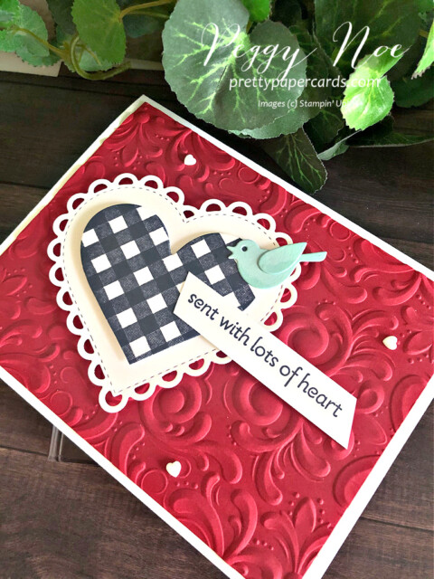 Handmade Card using the Lots of Heart Bundle by Stampin' Up! designed by Peggy Noe of prettypapercards.com #lotsofheart #peggynoe #prettypapercards #valentine