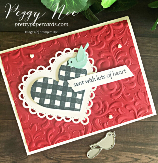 Handmade Card using the Lots of Heart Bundle by Stampin' Up! designed by Peggy Noe of prettypapercards.com #lotsofheart #peggynoe #prettypapercards #valentinecard #ginghamheart