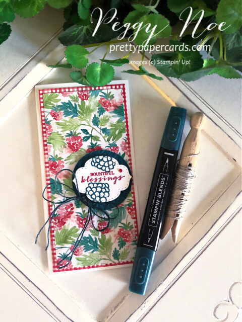 Handmade Blessings Card created using Berry Blessings Bundle by Stampin' Up! designed by Peggy Noe prettypapercards.com #berryblessings #minislimlinecard #minislimline #bountifulblessings #prettypapercards