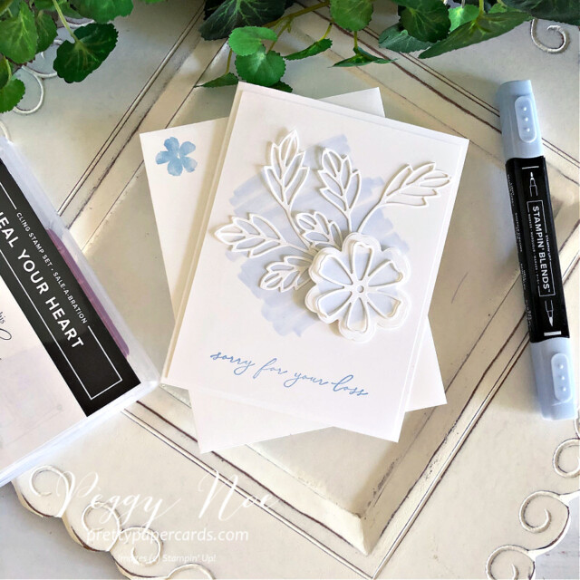 Handmade sympathy card made with the Pretty Perennial Stamp Set by Stampin' Up! designed by Peggy Noe of Pretty Paper Cards #prettyperennials #sympathycard #peggynoe