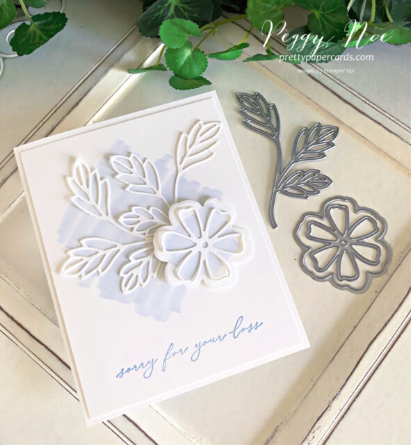 Handmade sympathy card made with the Pretty Perennial Stamp Set by Stampin' Up! designed by Peggy Noe of Pretty Paper Cards #prettyperennials #sympathycard #peggynoe #prettypapercards