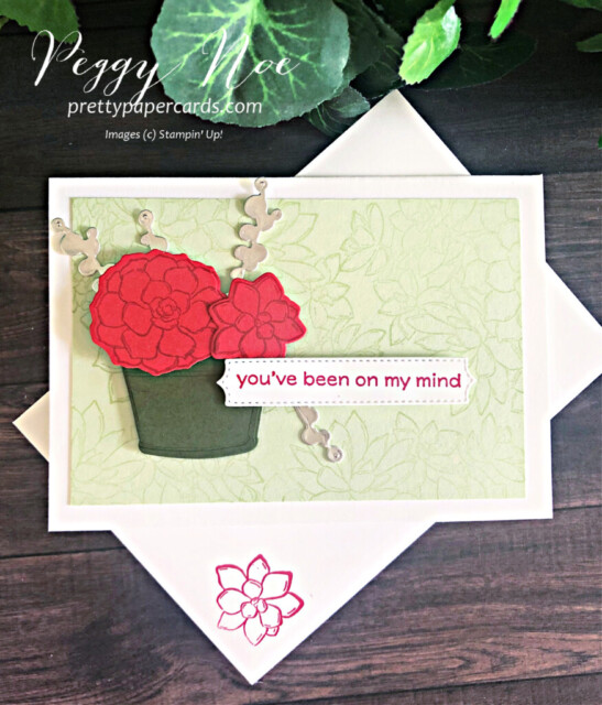 Handmade notecard using the Simply Succulents Bundle by Stampin' Up! designed by Peggy Noe of prettypapercards.com #simplysucculents #simplysucculentsbundle #cactuscard #stampinup #peggynoe #prettypapercards