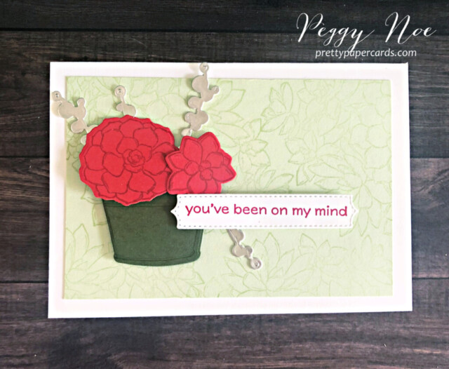 Handmade notecard using the Simply Succulents Bundle by Stampin' Up! designed Peggy Noe of prettypapercards.com #simplysucculents #simplysucculentsbundle #stampinup #peggynoe #prettypapercards