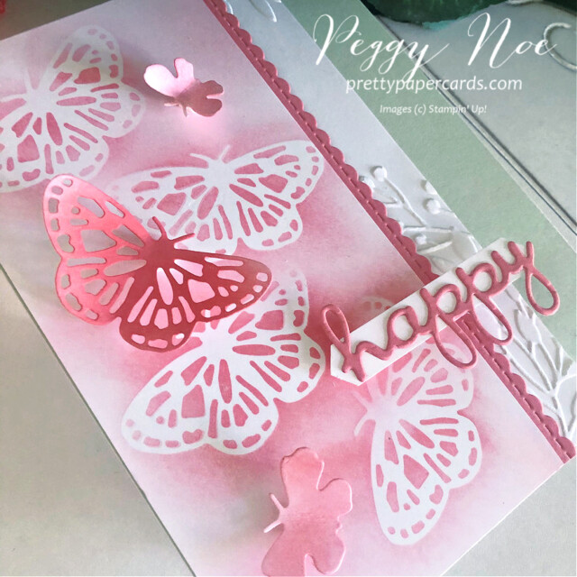 Handmade Happy Card using the Butterfly Brilliance Bundle by Stampin' Up! designed by Peggy Noe of prettypapercards.com #butterflies #butterflybrilliance #happycard #peggynoe #prettypapercards #prettypapercards.com #wellwrittendies